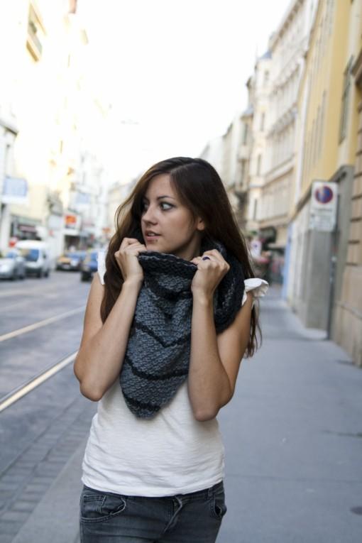 striped triangular scarf